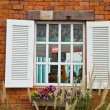Window with flower pots. — Stock Photo