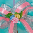 Fabric ribbon roses. — Stock Photo