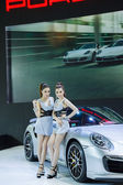 BANGKOK - MARCH 30 Unidentified model with Porsche on display at — Stock Photo