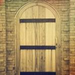 Old wooden door in brick wall — Stock Photo #50002515