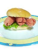 Hot-dog in hamburger brot — Stockfoto