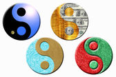 Four yin yang symbols — Stock Photo