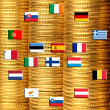 Stock Photo: Flags of eurozone countries against piles of coins