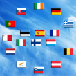 Stock Photo: Flags of eurozone countries against sky