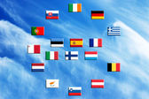 Flags of eurozone countries against the sky — Stock Photo