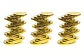 Columns from coins of yellow metal — Stock Photo