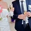 Wedding bouquet and glasses — Foto de Stock