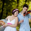 Musician and a girl — Stock Photo