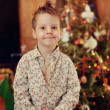 Boy and a Christmas tree — Stock Photo