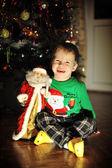 Boy and a Christmas tree — Stock Photo