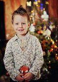 Pojke och en julgran — Stockfoto