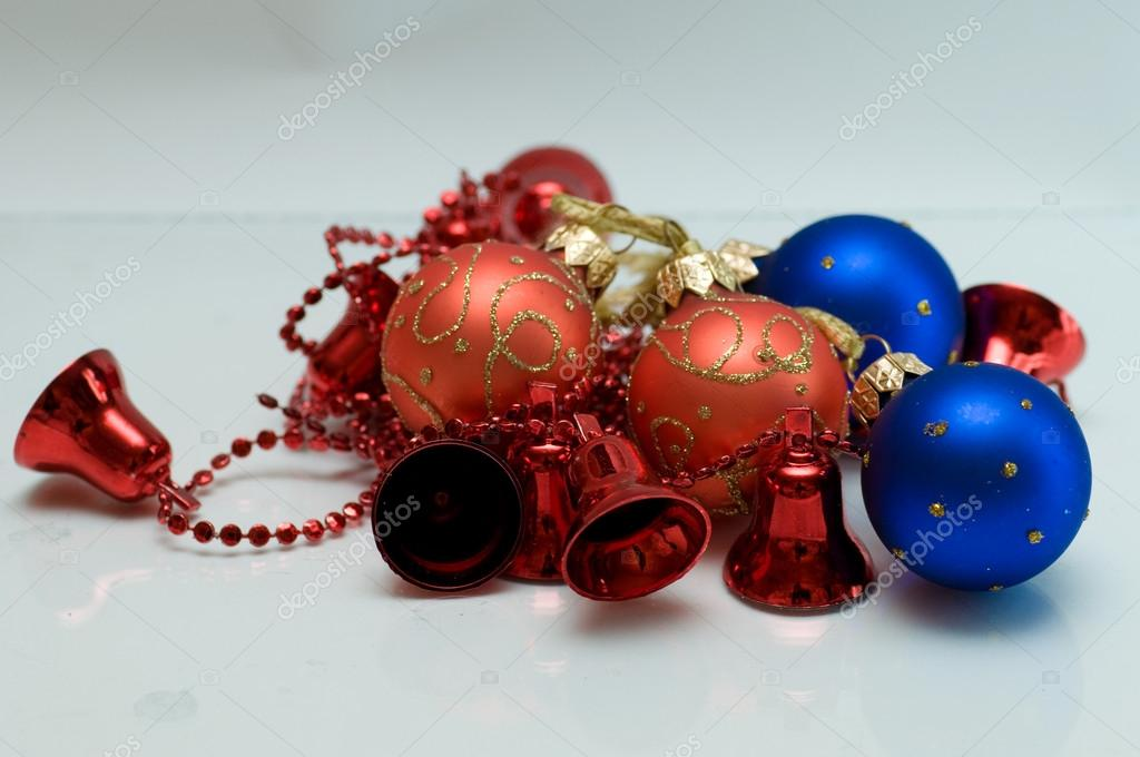 On a white background is a composition of colored Christmas toys  Stock Photo #13947110