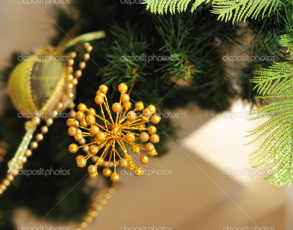 Christmas tree decorated with different beautiful toys — Stock Photo #16306461
