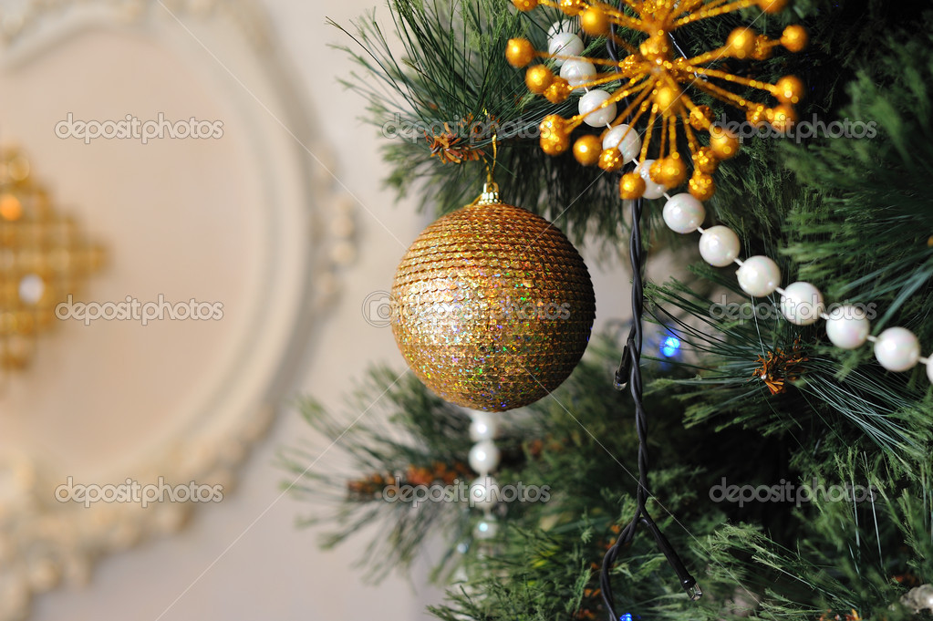 Christmas tree decorated with different beautiful toys — Foto de Stock   #16306475