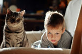 Boy with a cat — Stock Photo