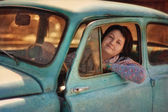 Girl and vintage car — Stock Photo