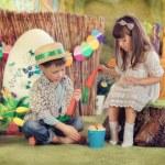 Children on a farm — Stock Photo