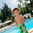 A boy and a pool — Foto de Stock