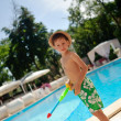 A boy and a pool — Foto Stock