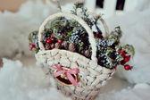 Basket with pine cones — Stock Photo