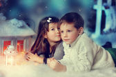 Children and Christmas tale — Stock Photo