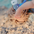 Children's feet in the sand — Stock Photo