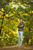 Man in the woods — Stock Photo