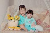 Children and rabbit — Stock Photo