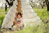 Girl in a tent — Stock Photo