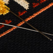 Stock Photo: Pair of needles closeup