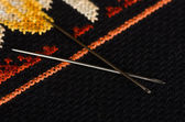 Pair of needles closeup — Stock Photo