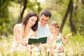 Feliz, mãe, pai e filha lerem um livro no parque — Fotografia Stock