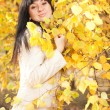 Young pretty woman in the autumn park — Stock Photo #14183429