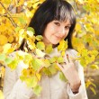 Young pretty woman in the autumn park — Stock Photo #14530025