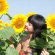 Royalty-Free Stock Photo: Fun woman in the field of sunflowers