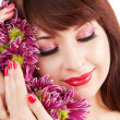 Cute woman face with flowers — Stock Photo #14974851