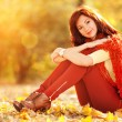 Pretty young woman rest in the autumn park — Stock Photo #15217579