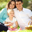 Happy family having a picnic in the green garden — Stock Photo #16376335
