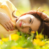 Sweet woman rest in the park — Stock Photo