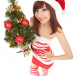 Santa woman with christmas tree. Wide angle - Stock Photo