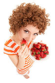 Fun woman with strawberry on the white background — Stock Photo