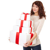 Happy woman with gift boxes — Stock Photo