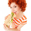 Fun woman with sandwich on the white background — Stock Photo