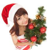 Santa woman with christmas tree. Wide angle — Stock Photo