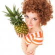 Fun woman with pineapple on the white background — Stock Photo