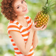 Fun woman with pineapple on the white background — Stock Photo #21942359