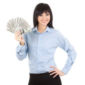 Young business woman with money — Stock Photo