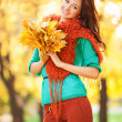 Young pretty woman walking in the autumn park — Stock Photo #30966949