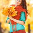 Young pretty woman walking in the autumn park — Stock Photo #31613399