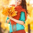 Young pretty womwalking in autumn park — Stock Photo #31613399